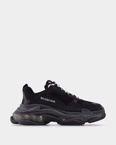 Triple S Clear Sole Sneakers in Black