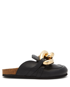 Chain backless leather loafers