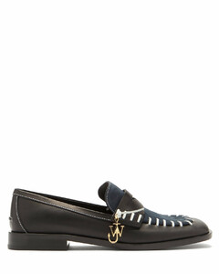 Topstitched leather and suede loafers