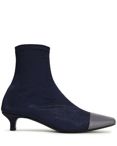 Woman Karl Leather-trimmed Stretch-satin Sock Boots