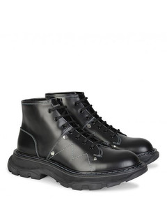 Oversize Sole Military Leather Boots