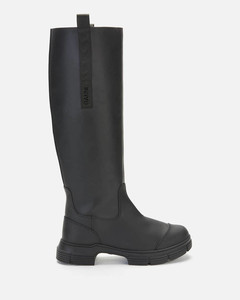 Women's Recycled Rubber Knee High Boots - Black