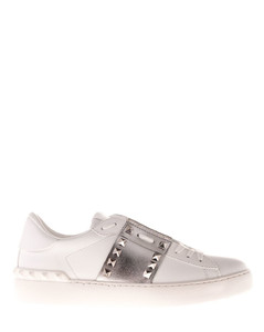 Rockstud Untitled sneakers in white and silve