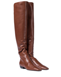 Slouchy leather over-the-knee boots