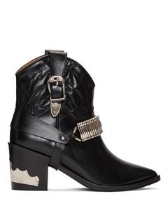 黑色Western Detail踝靴
