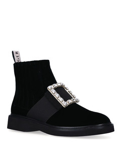 Crystal-Embellished Velvet Rangers Chelsea Boots