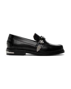 黑色五金皮革乐福鞋