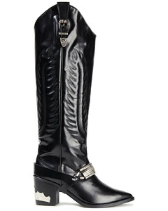 Pulla Woman Embellished Glossed-leather Knee Boots