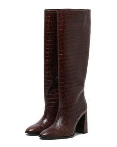 Knee-length croc boots