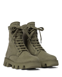 Canvas combat boots