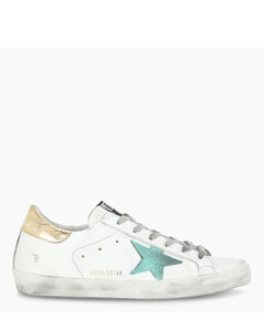 White/gold/green Superstar sneakers