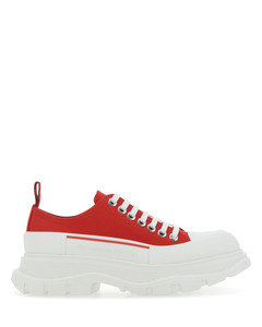 Red canvas Tread Slick sneakers