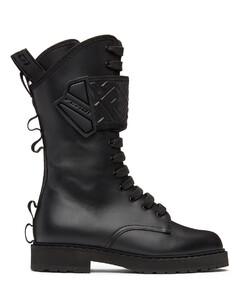 黑色Forever Fendi Rockoko Biker中筒靴