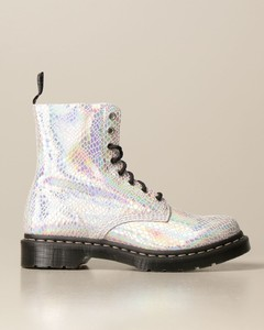 ankle boot in suede with iridescent python print