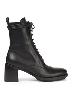 Woman Lace-up Leather Ankle Boots