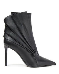 Woman Pleated Leather Ankle Boots
