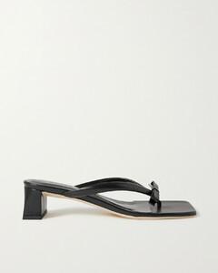 Bibi Bow-embellished Crinkled Glossed-leather Sandals