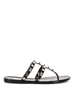 PVC Thong Sandals in Black