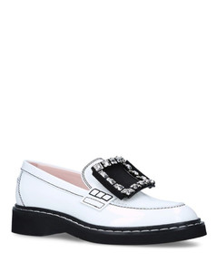 Leather Viv' Rangers Strass Buckle Loafers