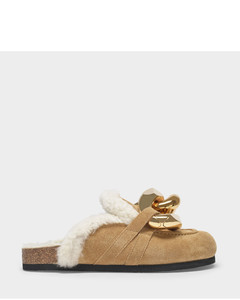 Shearling Chain Loafer Slides in Beige Leather