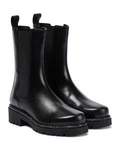 Bika缀饰皮革及踝靴