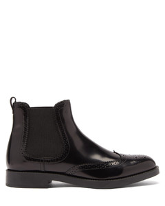 Brogue-perforated leather Chelsea boots