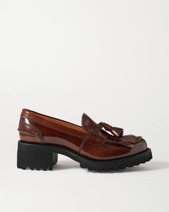 Colleen Tasseled Glossed-leather Loafers