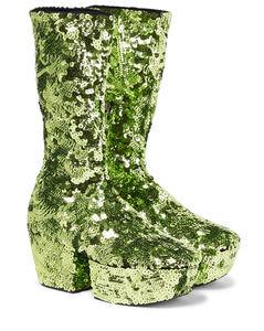 Sequined platform ankle boots