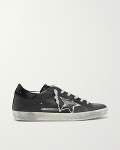 Superstar Metallic Distressed Leather And Suede Sneakers - IT35