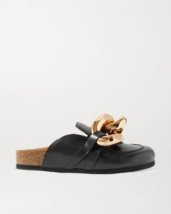 Chain-embellished Leather Slippers