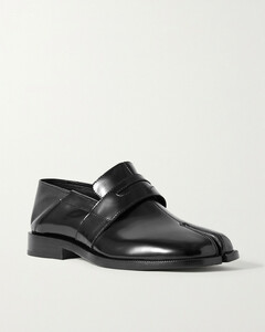 Split-toe Patent-leather Collapsible-heel Loafers