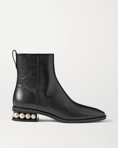 Casati Faux Pearl-embellished Leather Ankle Boots - IT38.5