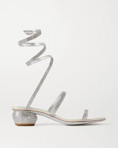 Cleo Crystal-embellished Metallic Leather Sandals