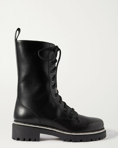 Faux Pearl And Crystal-embellished Leather Ankle Boots - IT35