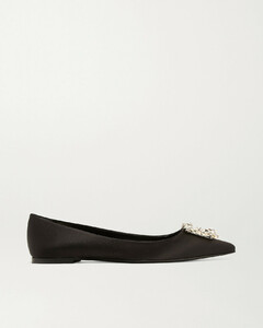 Crystal-embellished Satin Point-toe Flats - IT34