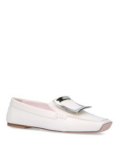 Leather Viv' Driver Metal Buckle Loafers
