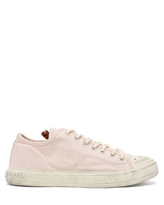 Distressed cotton-canvas trainers