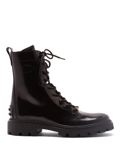 Logo-plaque leather boots