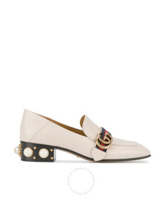 Ladies White Leather Mid-heel Loafers