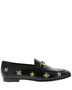 Jordaan Embroidered Bee Stars Black Leather Loafers