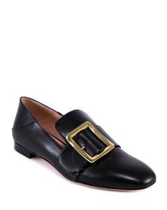 Ladies Black Janelle Buckle Flats