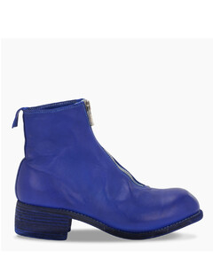 Blue leather low boots