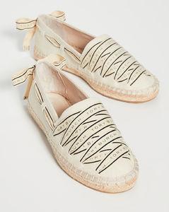 徽标罗缎平底帆布鞋
