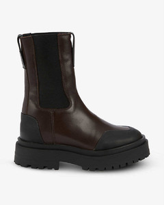 Round-toe calf-length slip-on leather boots