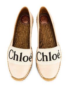 Chloe Woody Espadrille Flats in Cream