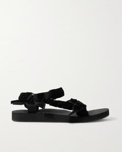Trekky Velvet And Canvas Platform Sandals