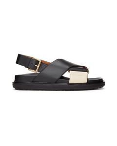 黑色Fussbett凉鞋