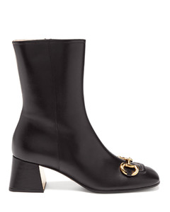Horsebit-chain leather ankle boots