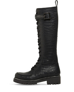 25mm Croc Embossed Leather Tall Boots