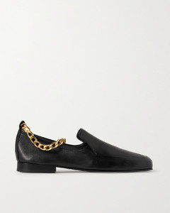 Nick Chain-embellished Glossed-leather Loafers